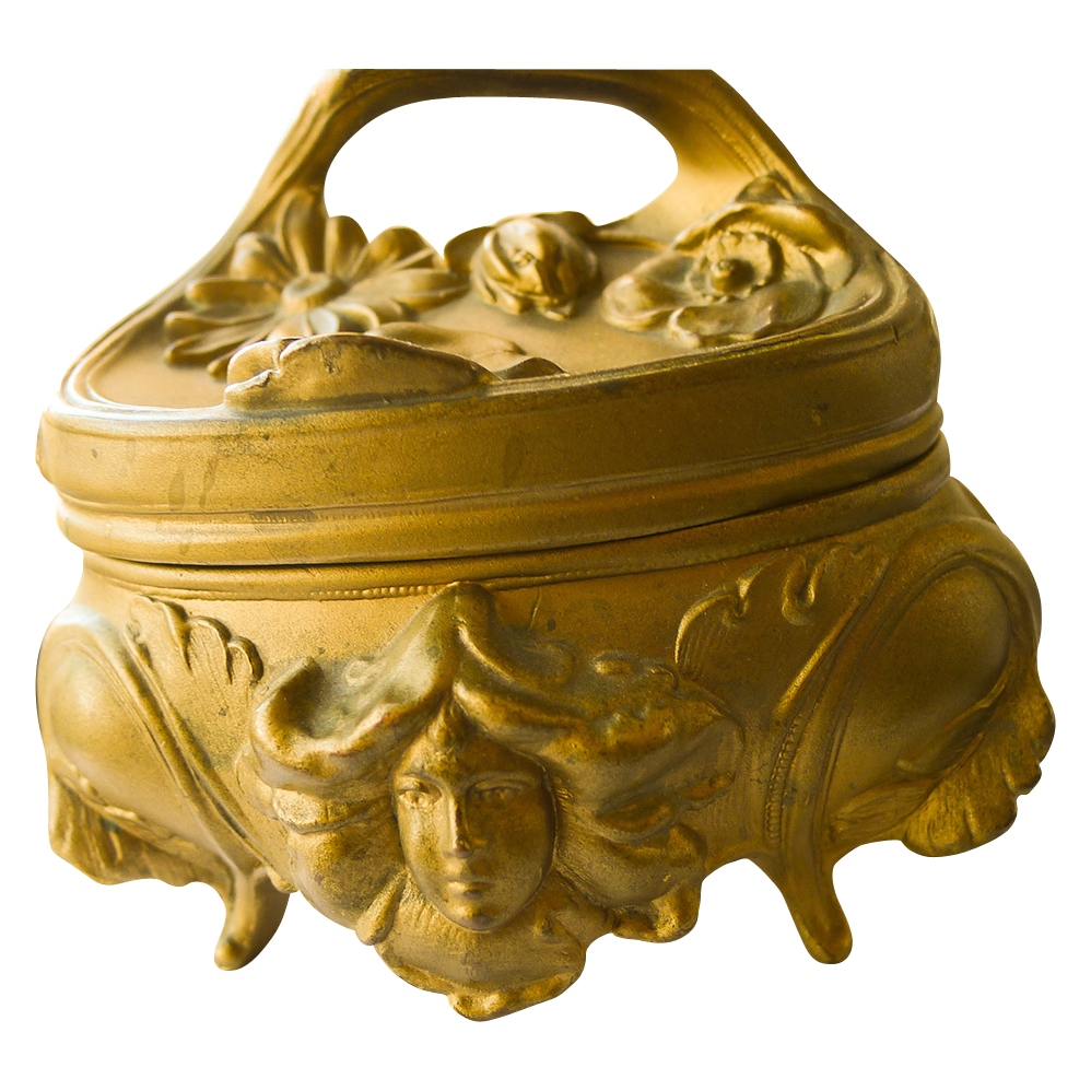 Jewelry Box - Antique Gold Plated Art Nouveau - Circa 1900