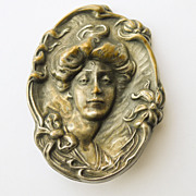 Large Art Nouveau Brooch Silver Plated - Antique Circa 1900