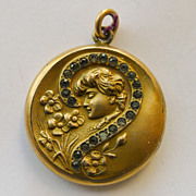 Gold Filled Locket - Question Mark Design - Antique Art Nouveau - Circa 1900