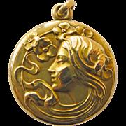14kt Gold Locket Antique Art Nouveau Magnificent - Circa 1900
