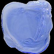 Candy Dish - Vintage Art Nouveau Blue Glass with Nude Woman
