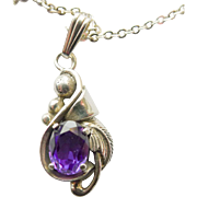 """Vintage Necklace Sterling Silver Amethyst Pendant Necklace with 16.5"""" 1.5mm Chain"""
