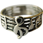 Vintage Ring - Sterling Silver Musical Notes - Size 5.5