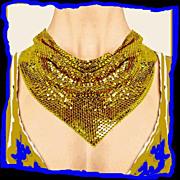 SALE WHITING DAVIS Triangular Gold Metallic Mesh Bib Necklace Vintage 1970s