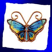 SALE DAVID ANDERSEN Scandinavian Sterling Silver Enamel Butterfly Pin