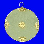 SALE PROSPERITY Large Medallion 14K Gold Jade Pendant Vintage 1970s