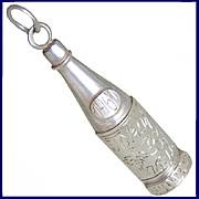 TOKAJI AZSU Rare Large 3D Hungarian Wine Bottle Charm or Pendant of High Grade 985 Silver Vint