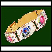 SALE IVAR HOLTH Scandinavian Sterling Silver Enamel Floral Bracelet