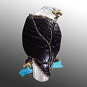 BRYCESON & ANDREA PINTO Zuni Multi-Stone Channel Inlay Bald Eagle Bolo Tie Clip