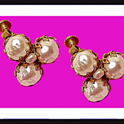 MIRIAM HASKELL Russian Gold Gilt Pearl Earrings