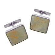 JANE WIBERG Rare Mid Century Modern Sterling Silver Chrysoprase Matrix Cufflinks