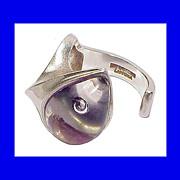 SOLD BJORN WECKSTROM Lapponia Rare Modern Space Jewelry Ring