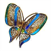 SALE Plique A Jour Butterfly 833 Silver Portuguese Brooch
