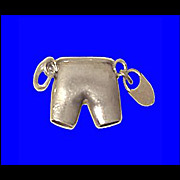 SALE CHASTITY BELT PANTIES Charm Rare 3-D Sterling Silver Vintage 1940s