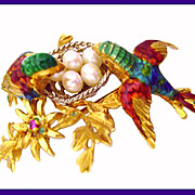 SALE Exquisite 18K Gold Italian Enamel Gemstone Lovebirds Pin