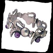 SALE CARAFE Amethyst Sterling Silver Mexican  Bracelet Vintage 1940s