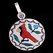 CARDINAL Stunning Vintage Zuni Sterling Silver Charm with Multi-Stone Inlay