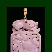 SOLD CROUCHING TIGER Koi Fish Dragon 14K Burmese Lavender Jadeite Jade Pendant