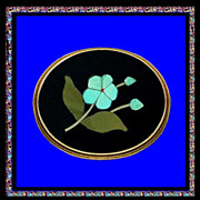 SALE FORGET ME NOT 18K Gold Florentine Mosaic Pietra Dura Pin