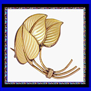 STYLIZED LEAVES Sterling Silver Enamel  Pin - Hans Myhre Vintage 1950s
