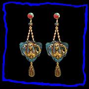 SALE CLEOPATRA Rare Egyptian Revival Dangle Drop Earrings - Enamel Celluloid Vintage 1920s