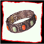 ZEE SUNG Chinese Export Sterling Silver Coral Turquoise Bracelet