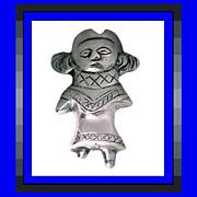 Asymmetrical Bohemian Ecuador Girl 900 Silver Vintage Ethnic Folk Art Pin