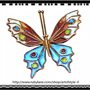 SALE CAPTIVATING Italian Arts and Crafts Influenced 800 Silver Enamel Butterfly Pin