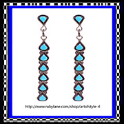 Zuni Extra Long Sterling Silver Turquoise Dangle Drop Earrings