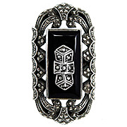 Spectacular Gargantuan Art Deco Style Sterling Silver Marcasite Ring