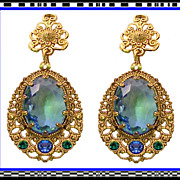 Faux Montana Sapphire Blue and Emerald Green Glass Dangle Drop Earrings