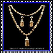SALE Trifari Tassel Sautoir Necklace and Clip Earrings - Ultra Chic Boho Style Vintage 1960s