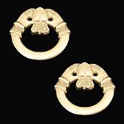 IRISH CLADDAGH 9K Yellow Gold Earrings
