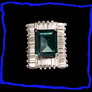 SALE Vintage Faux Emerald and Faux Diamond Sterling Silver Cocktail or Statement Ring