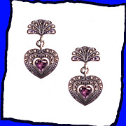 Amethyst Heart Art Deco Influenced Sterling Silver Dangle Drop Earrings Vintage