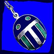 DAVID-ANDERSEN Mid-Century Modern Good Luck Sterling Silver Scarab Beetle Charm or Pendant