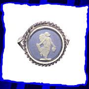 Greek Mythology Wedgwood Blue Jasperware Sterling Silver Ring
