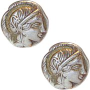 SALE Handsome Tetradrachm Style Athena Cufflinks European 800 Silver