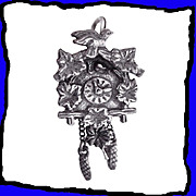 SALE Black Forest Cuckoo Clock Charm European 800 Silver 3D Exceptionally Detailed