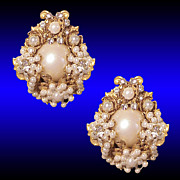 Regal Miriam Haskell Style Floral Bouquet Rose Montee Seed Pearl Earrings
