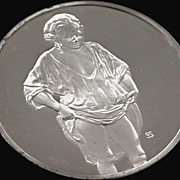 Silver Round Medallion Masterpiece Rembrandt Woman Bathing