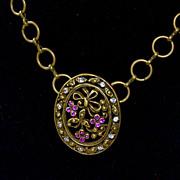 Purple Amethyst Rhinestone Pin Pendant Necklace