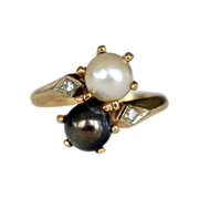 Black and White Cultured Pearl 14k Bypass Ring with Diamonds