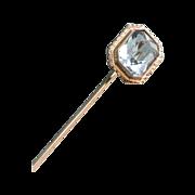 Aquamarine and 18k White Gold Stick Pin