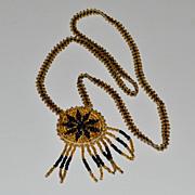SALE Woven Glass Bead Pendant Necklace