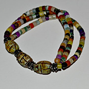 Stone and Scarab Bead Bracelet