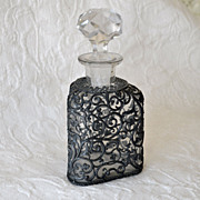 Vintage Glass Decanter or Bottle with Overlay