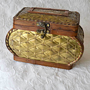 SALE Woven Wood and Brass Sewing Box
