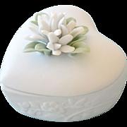 SALE Bisque Porcelain Heart Trinket Box