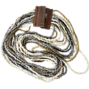 Necklace Multi strand Huge wood Clasp